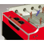 Tischabdeckung aus Sicherheitsglas - leicht auswechselbar - dämpft Spielgeräusche und hält den Kickers sauber